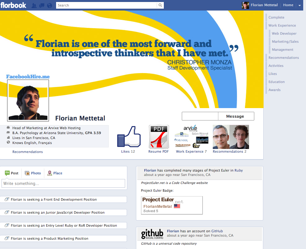 florian-mettetel-coded-facebookhireme-to-woo-prospective-employers
